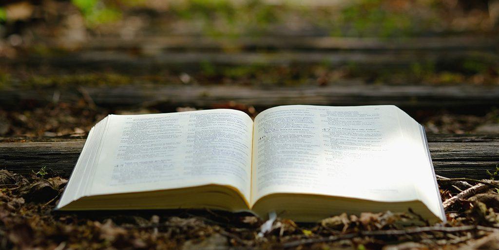 Ein Buch liegt aufgeschlagen auf Gleisen als Symbol für deine Botschaft.