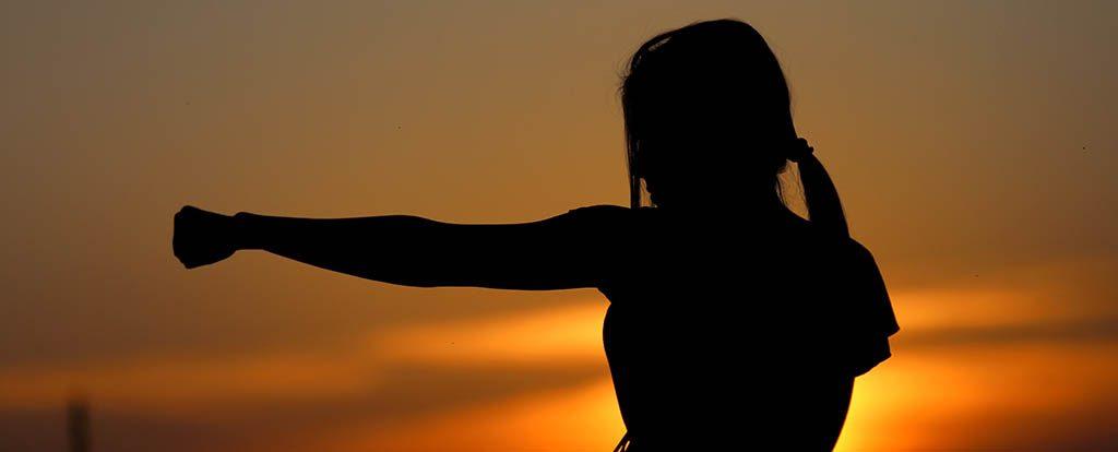 Eine Frau streckt kraftvoll ihre Faust aus und symbolisiert den Kampf darum, recht haben zu wollen. Im Hintergrund ist ein Sonnenuntergang zu sehen.