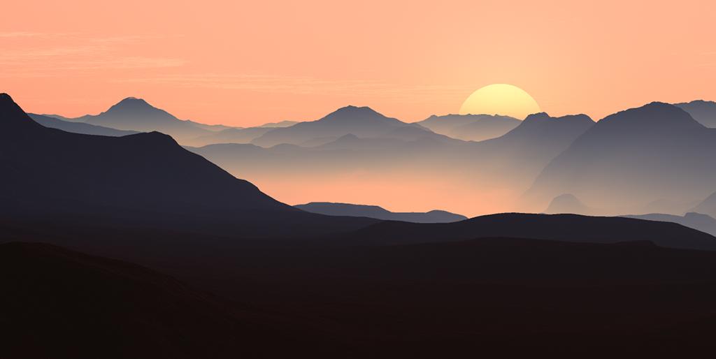 Ein Sonnenuntergang lässt einer Berglandschaft fast übernatürlich aussehen - das lässt die Demut wachsen.