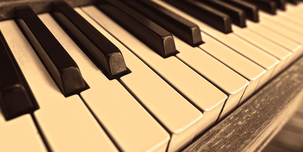 Die Klaviertasten stehen als Symbol für die Musik meines Lebens.