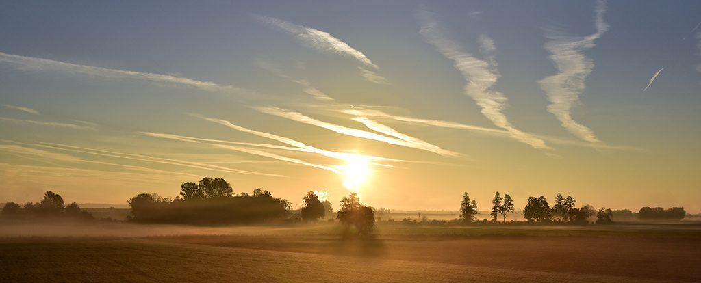 Die Sonne geht über einem Feld auf, ein neuer Tag ist immer auch ein Neubeginn.