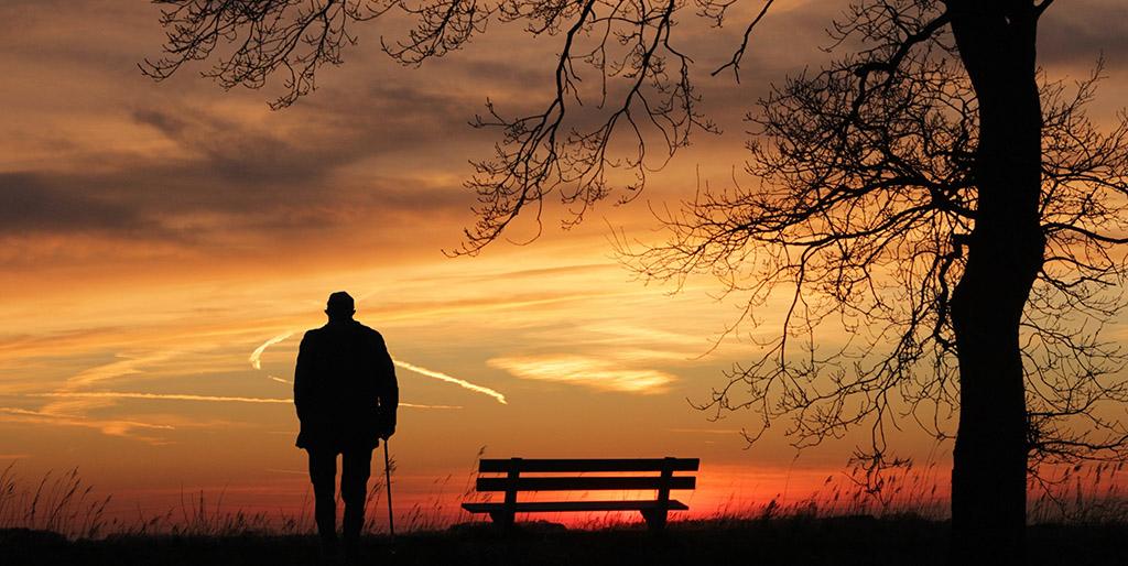 Die Silhouette eines alten Mannes mit Stock geht vor dem rot und gelb leuchtenden Sonnenuntergang von einer Bank neben einem Baum weg - ein Bild für den Kreis des Lebens, der sich schließt.